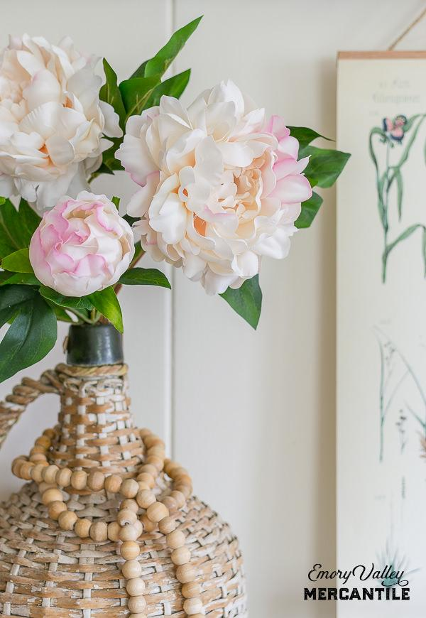 realistic faux peonies