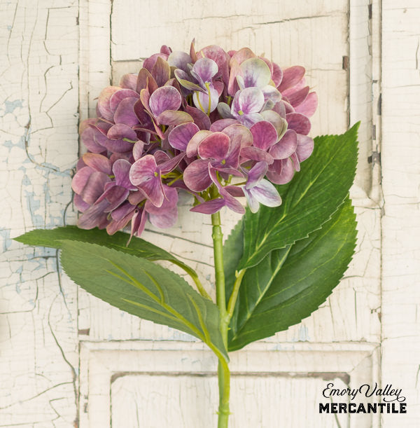 realistic faux artificial purple hydrangea branch