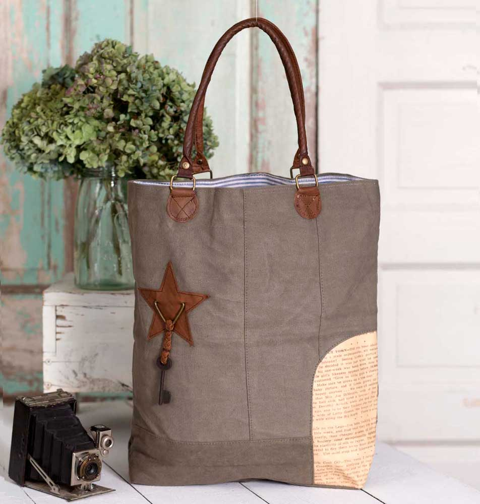 canvas and leather tote with leather handles