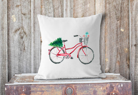 red bicycle Christmas pillow