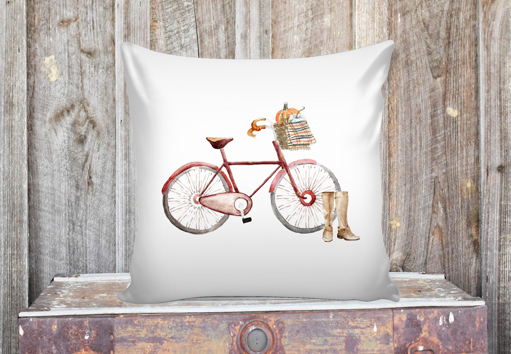Red Fall Bicycle Pillow Cover Emory Valley Mercantile Interesting Bicycle Throw Blanket