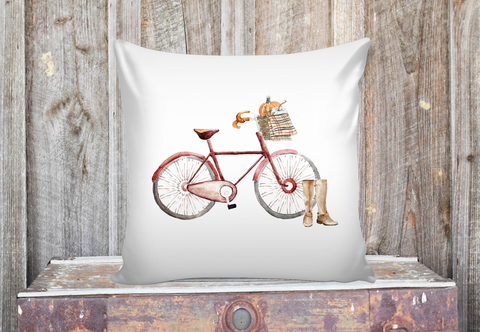 pillow cover with watercolor red bicycle and pumpkins