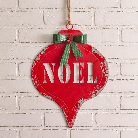 ornament shaped red noel sign