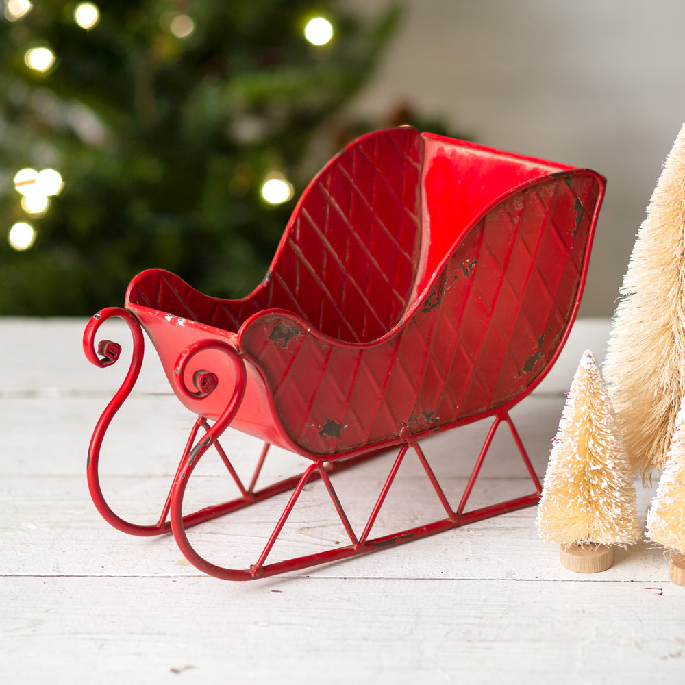 distressed metal red Santa sleigh