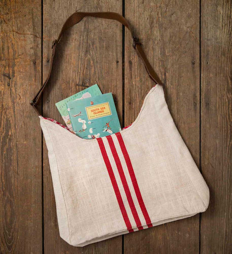 Vintage style red stripe grain sack tote bag