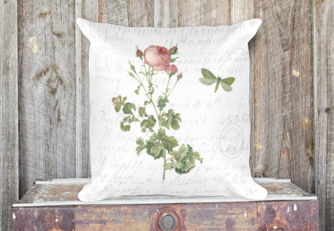Vintage Rose Botanical Pillow Cover