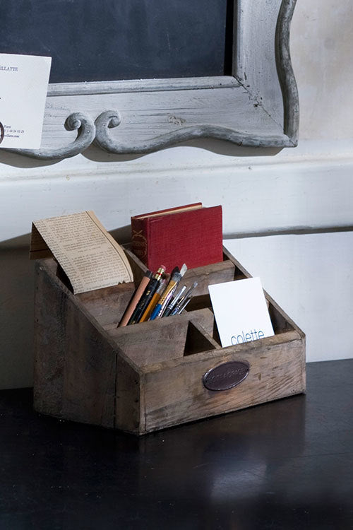 vintage style wood letter organizer