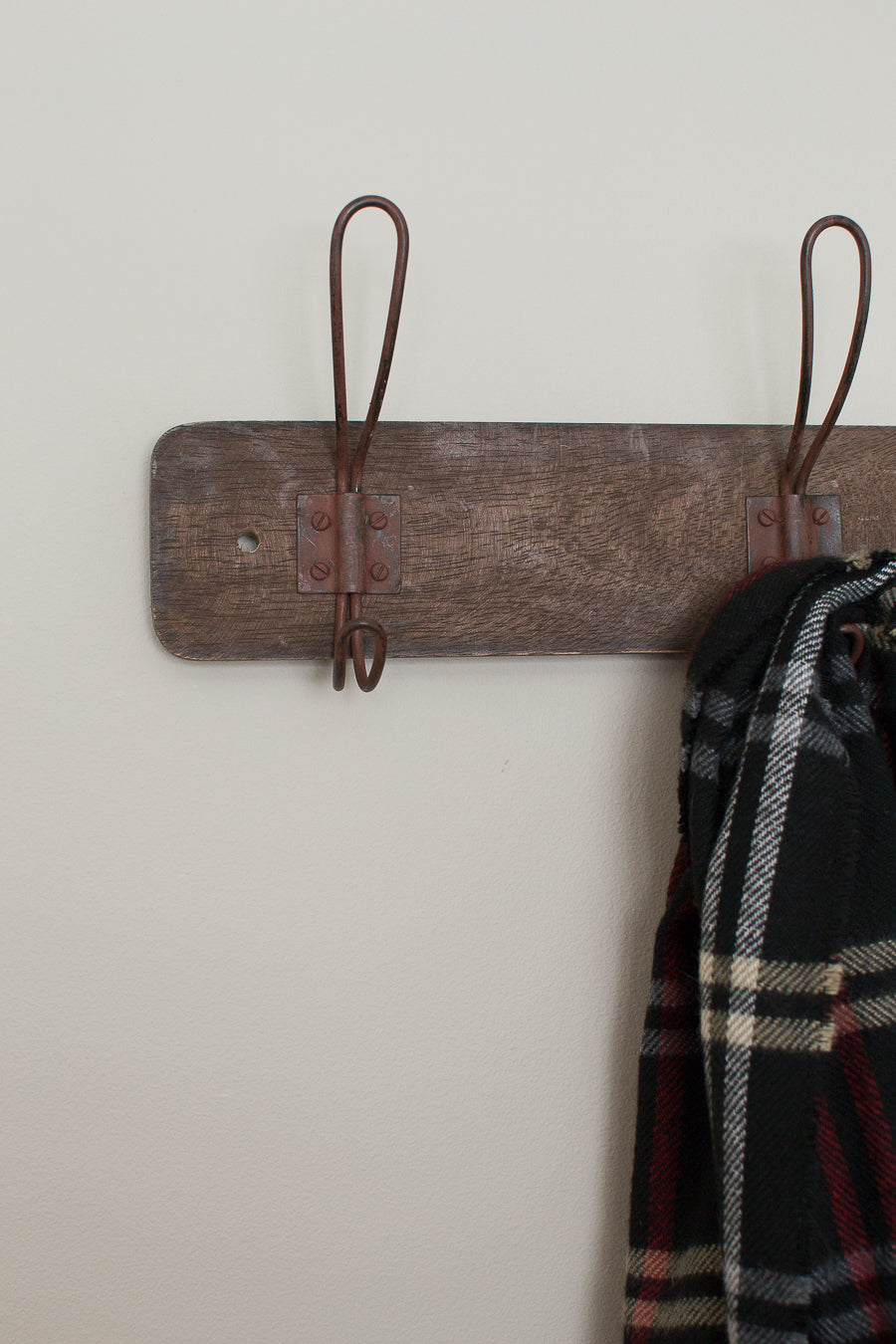 rustic wood wall rack with wire hooks