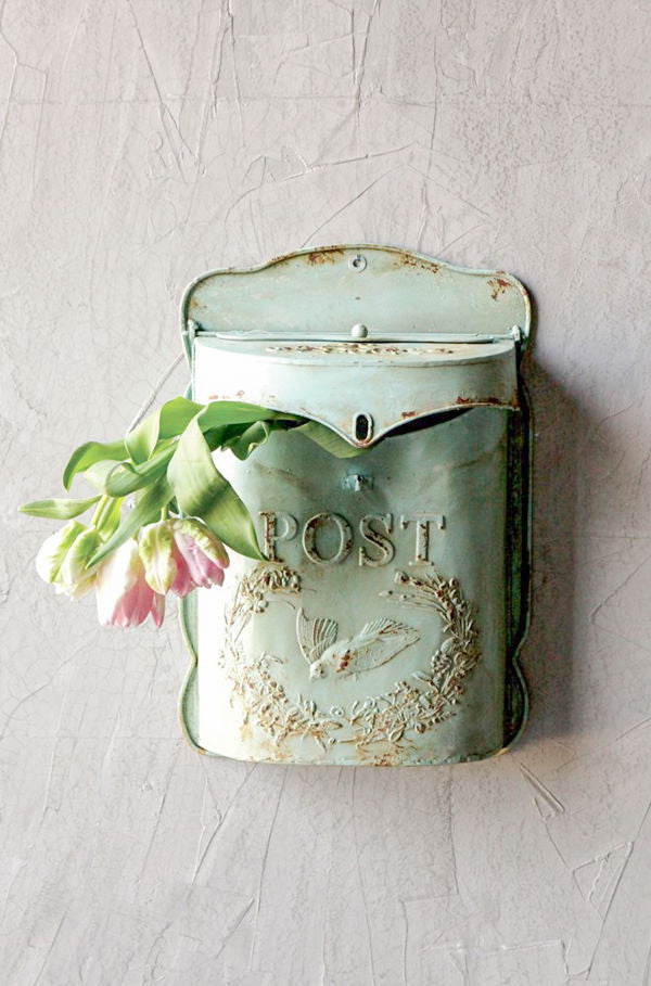vintage inspired green metal post box