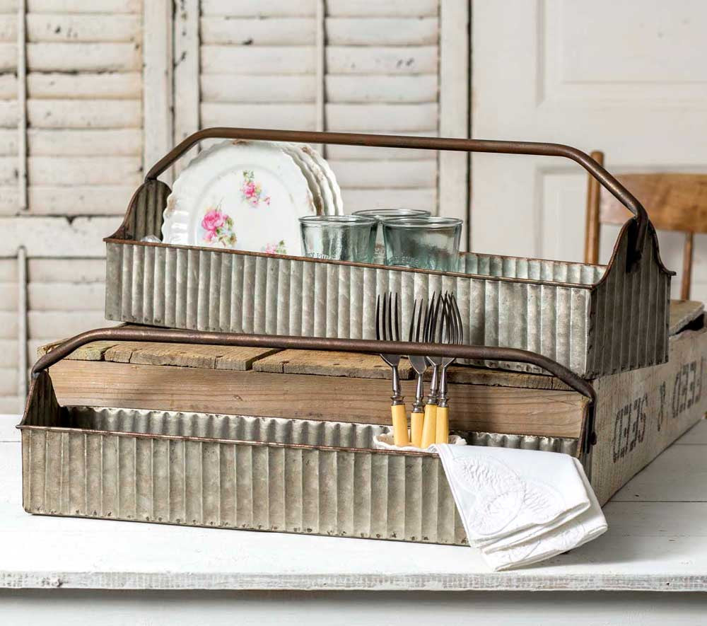 farmhouse style corrugated metal caddy