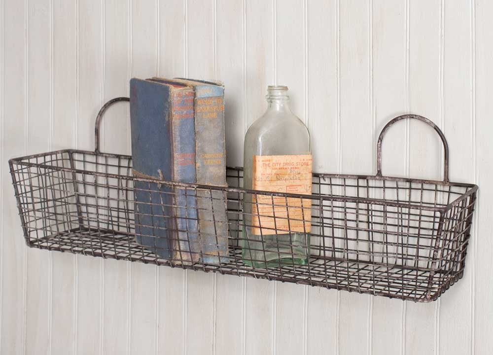 vintage French bakery wall wire basket