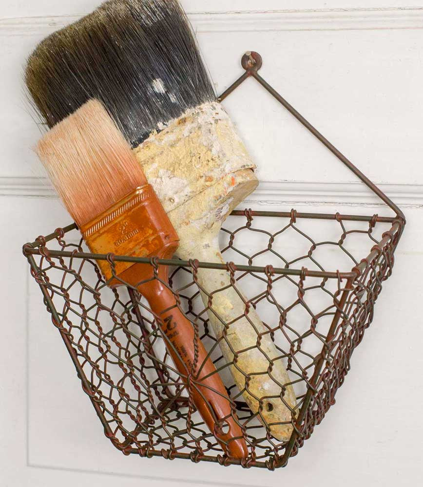 wall mounted wire basket farmhouse style