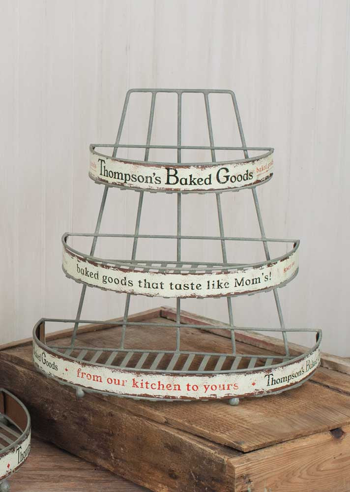vintage style baked goods kitchen storage rack
