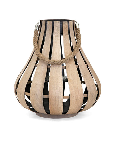 Small Wood Lantern with Rope Handle