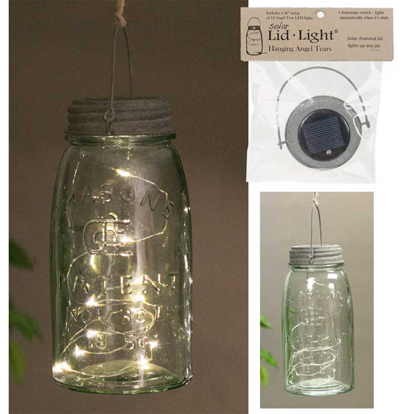 solar powered glass jar lid with fairy lights