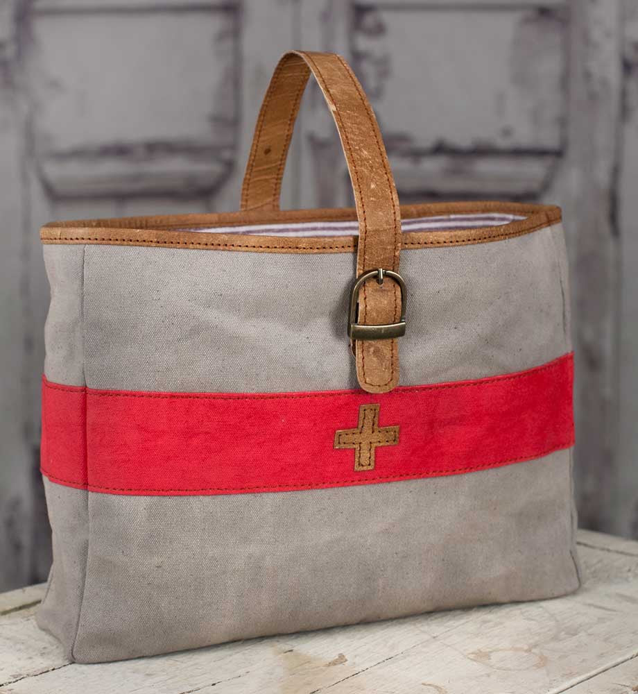 swiss army canvas and leather tote bag