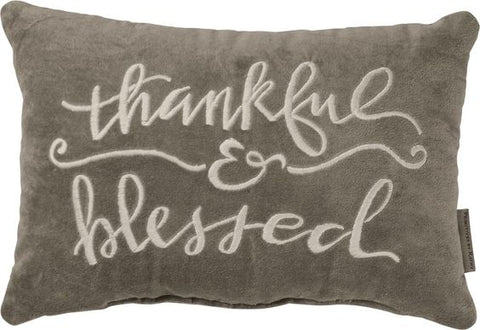 thankful and blessed velvet pillow