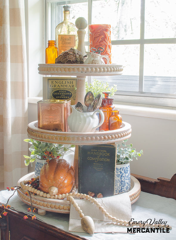 3 tier wood tray stand beaded edge fall decor ideas