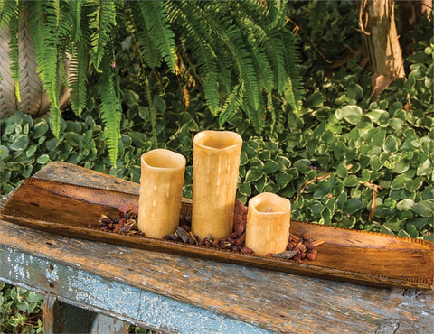 long wood candle tray