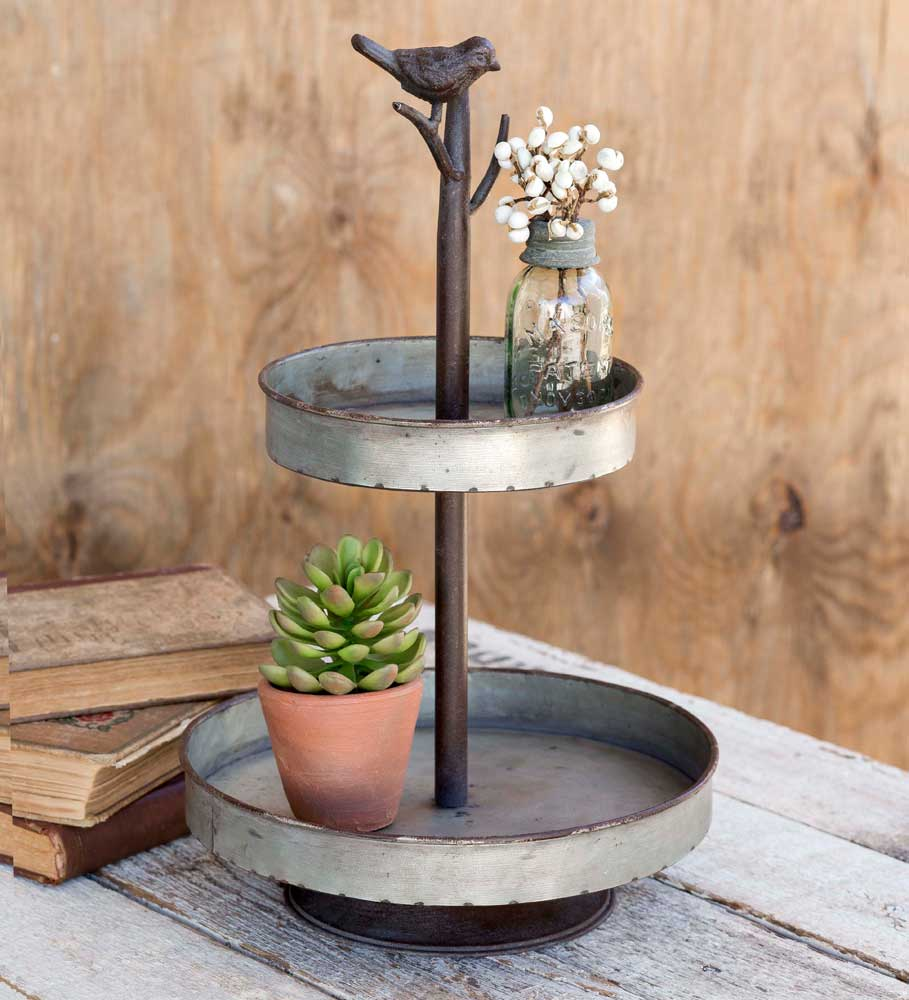 two tier metal tray with bird finial