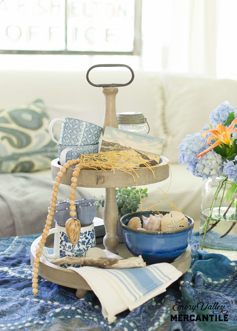 two tier wooden tray stand