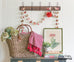 farmhouse wood wall rack with wire hooks