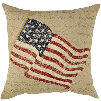 Vintage American Flag Pillow Cover