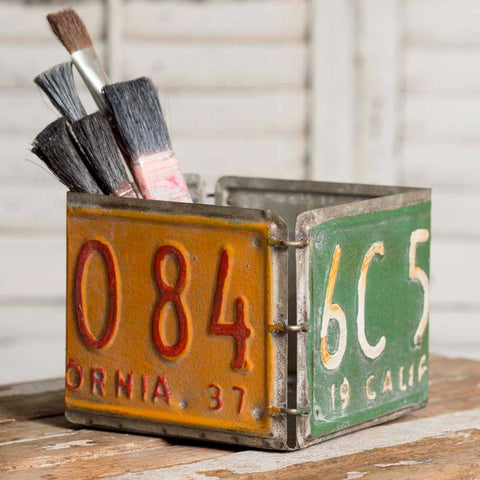 vintage license plate storage box