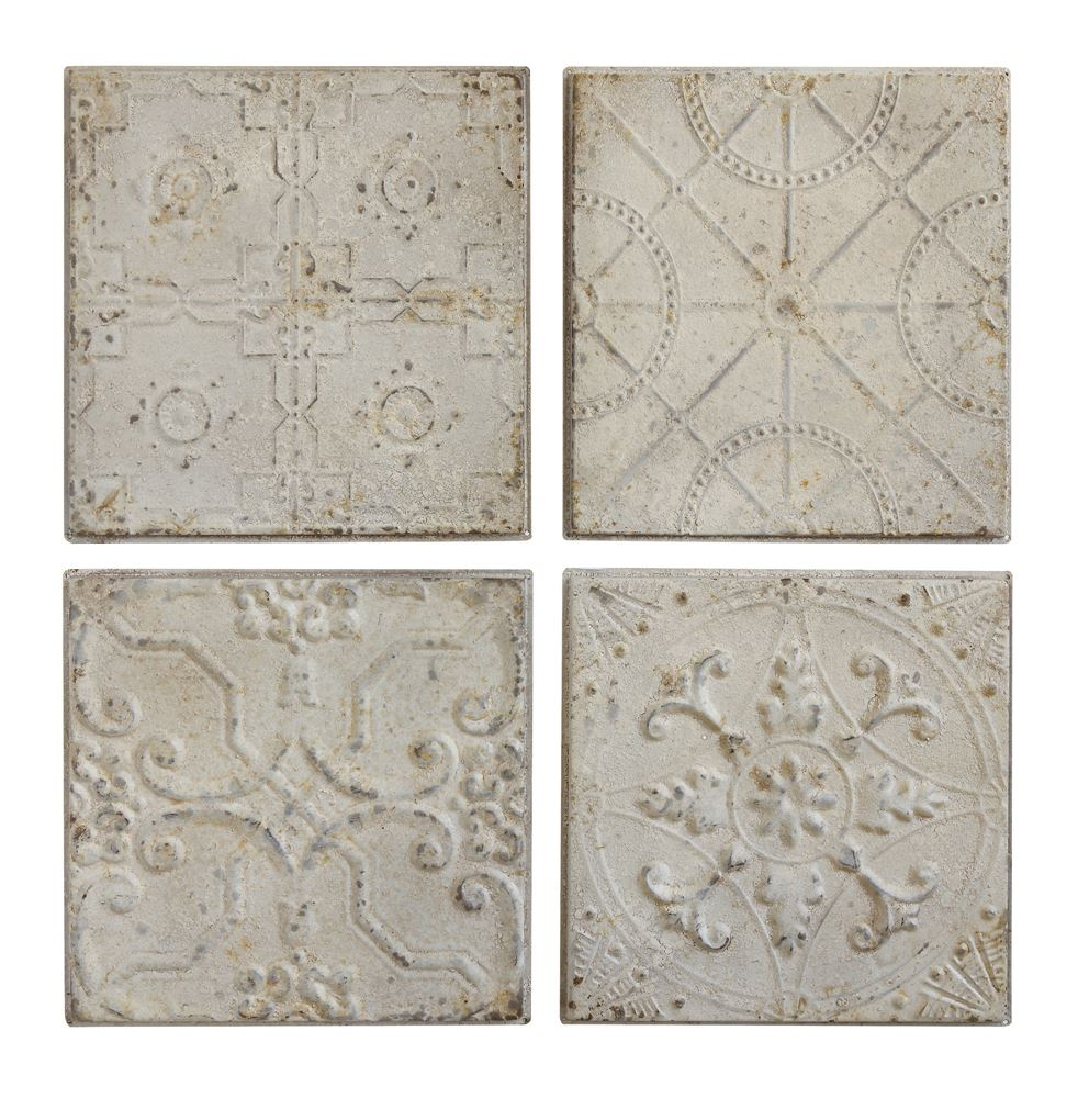 Set of 4 embossed vintage ceiling tiles antique white emory vintage tin ceiling tiles dailygadgetfo Image collections