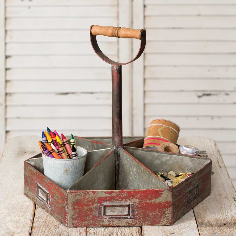 vintage style red distressed metal caddy with wood handle