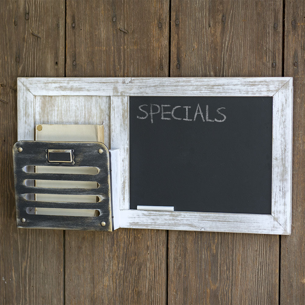 vintage style wall organizer with chalkboard
