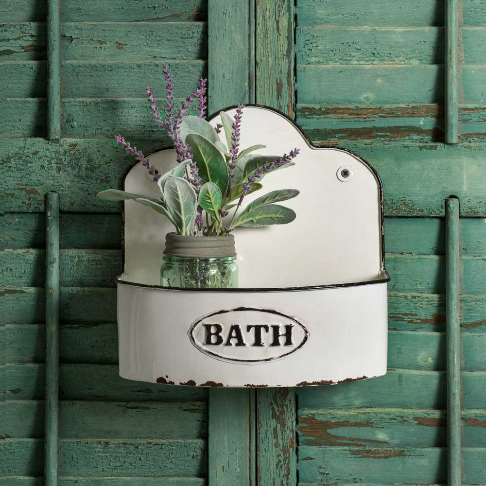 white enamel vintage farmhouse style bath wall caddy