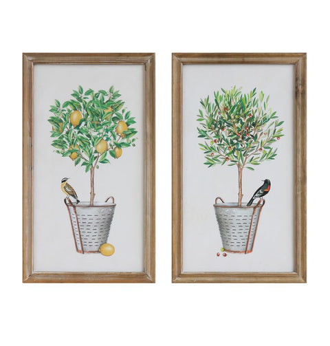 Topiary Trees in Olive Bucket with Bird Framed Wall Art, Set of 2