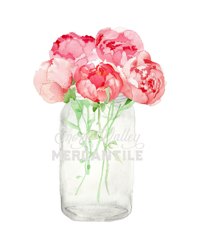 watercolor pink peonies in mason jar
