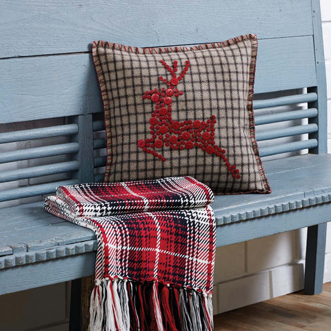 Farmhouse style plaid Christmas reindeer button pillow