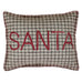 Farmhouse style Christmas pillow with red Santa buttons