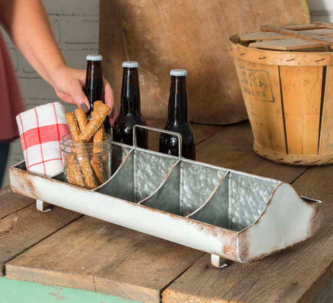 modern farmhouse style whitewash feed trough caddy