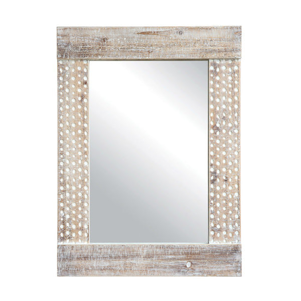 whitewashed wood frame mirror