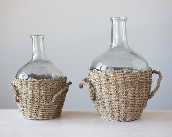 glass jug bottles with woven seagrass cover and handles