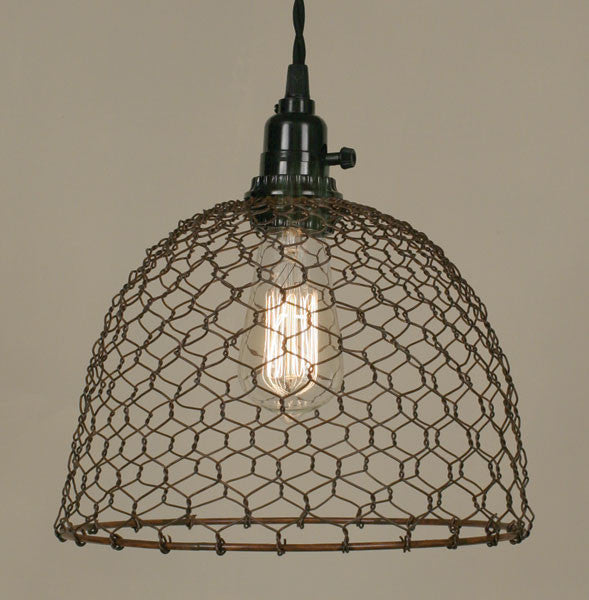 Farmhouse style chicken wire dome pendant light lamp