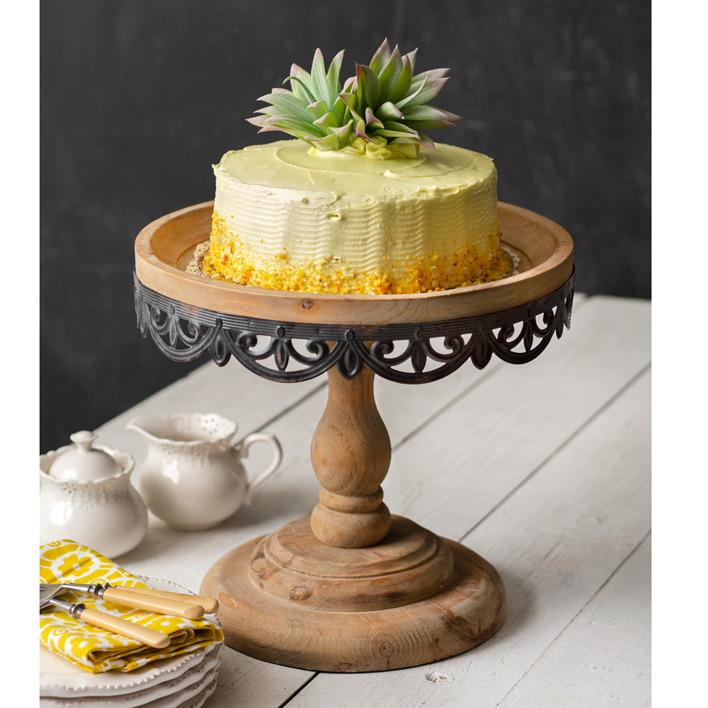 wood and metal scalloped cake pedestal