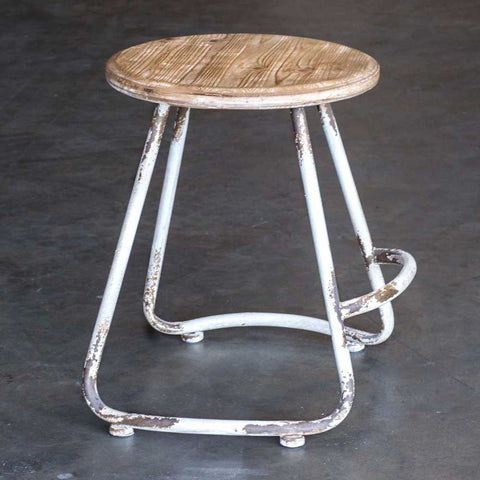 wooden seat metal stool farmhouse industrial style