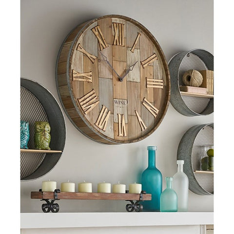 oversized wood wine barrel wall clock