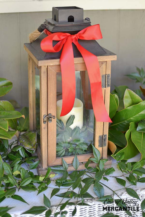 wood and metal candle lantern