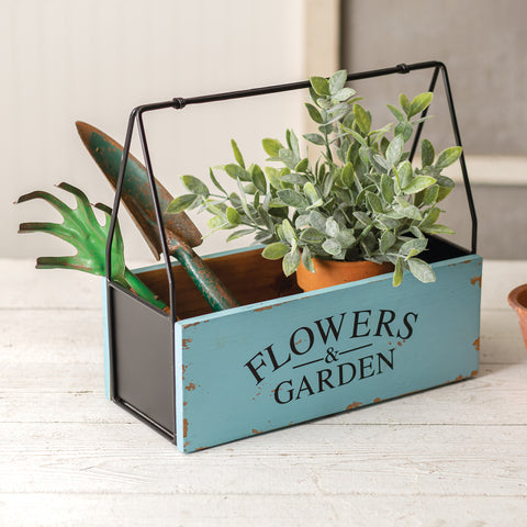 metal and wood garden caddy