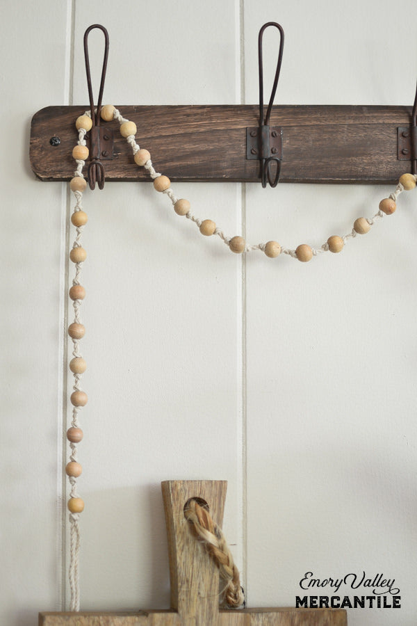 "72""L Cotton & Wood Bead Garland, Natural"