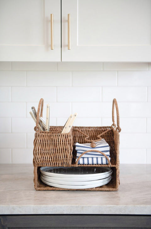 hand woven rattan kitchen caddy