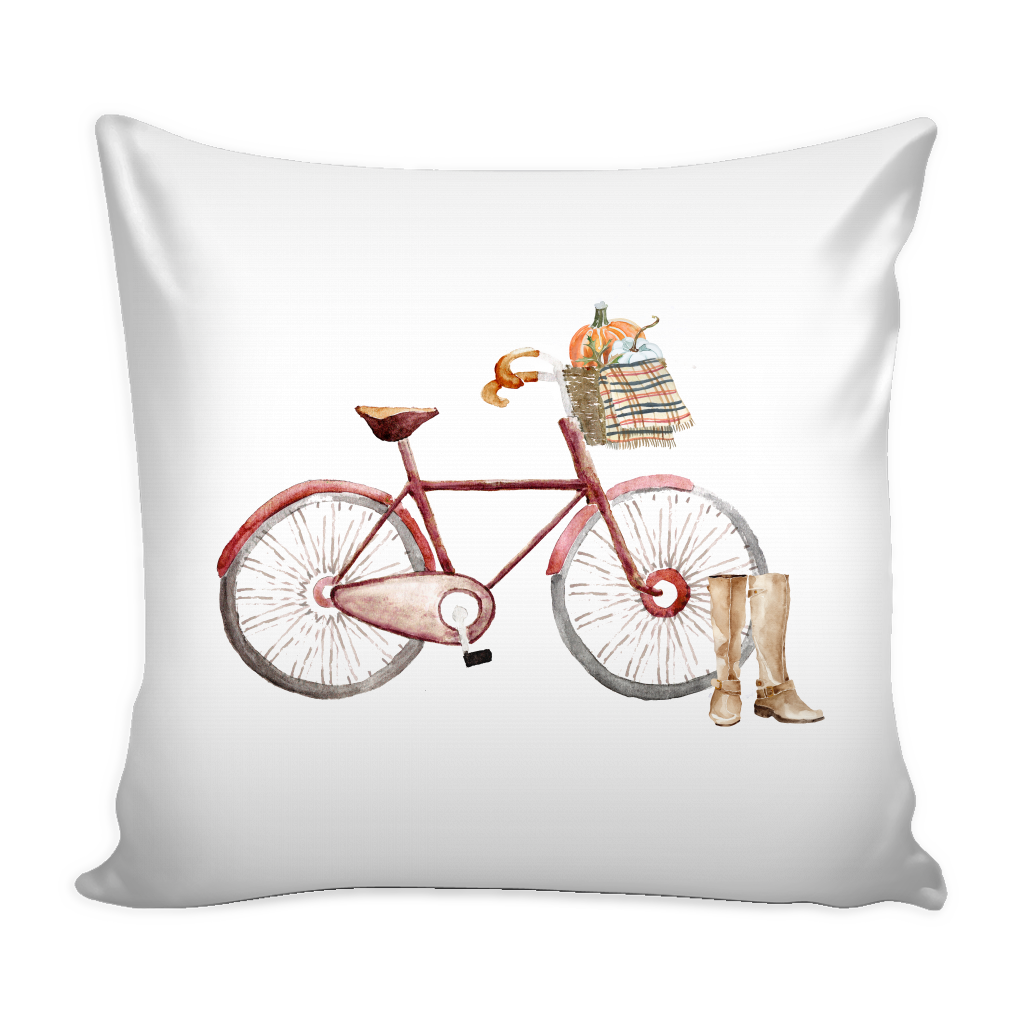 red watercolor fall bicycle with pumpkins and throw blanket pillow cover