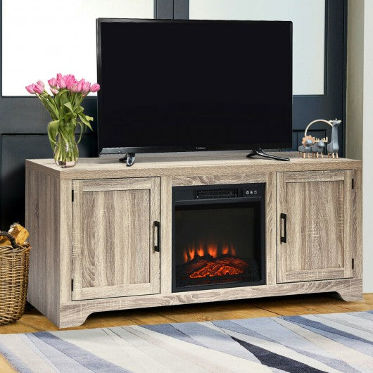 "18"" Electric Fireplace Freestanding & Wall-Mounted Heater Log Flame"