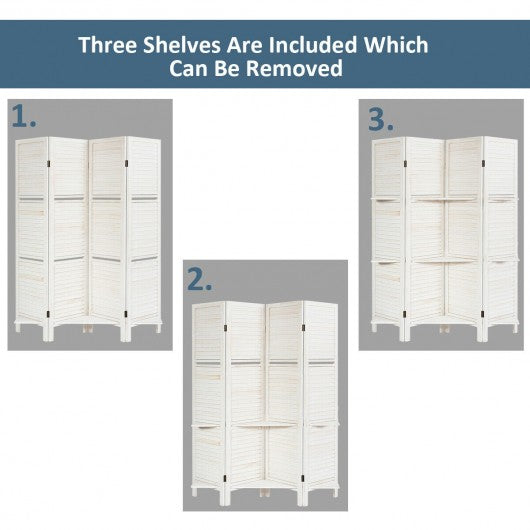 4 Panel Freestanding Folding Hinged Room Divider /w 3 Display Shelves